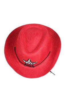 HKS Boy Girl Unique Straw Braid Sun Hat Cap Cowboy Star Applique Topee - intl
