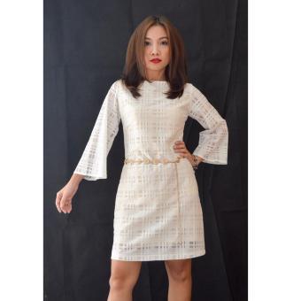 Đầm ren caro trắng cao cấp JasminRose