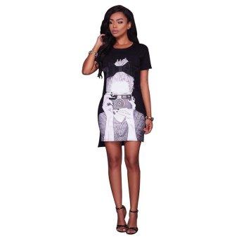 Print Casual T Shirt Dress Short Sleeve Halter Women's Sexy Summer Dress Plus Size Mini Bodycon Ladies Dress - intl