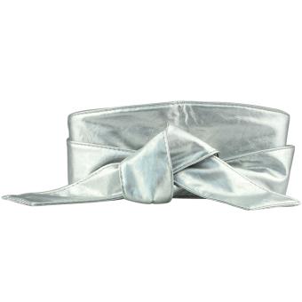 Women PU Leather Soft Self Tie Band Wrap Around Sash Obi Belt Corset Cinch Waist Belt Band Waistband Silver