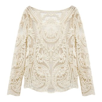 Fancyqube Women Long Sleeve Sexy Lace BlouseTop Beige - Intl