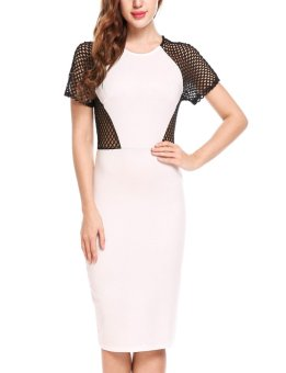 Sunweb Women Casual Short Sleeve Net Patchwork O Neck Sexy Cocktail Clubwear Bodycon Dress ( White ) - intl