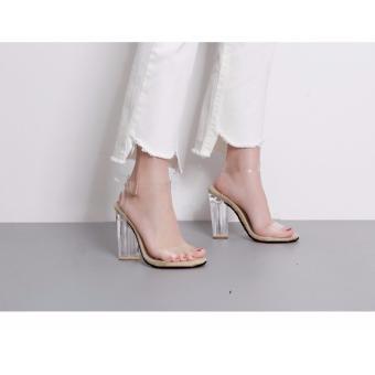 Giày sandal đế vuông 9 phân quai ngang trong suốt S289