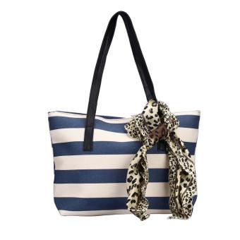 Big Striped Plaid Ladies Handbags Shoulder Bags Clutches Women Bag Blue - Intl