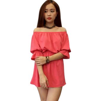 Đầm váy trễ vai tay lỡ màu hồng ANL29