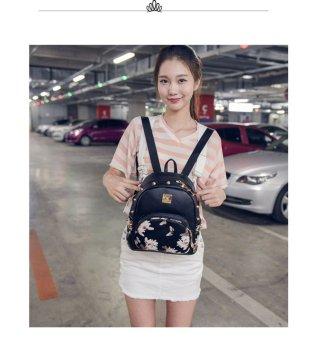 Rose Print Rivet Spoon Zipper Head Backpack(Black) - intl