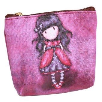 LALANG Mini Cute Cartoon Girl Canvas Coin Purse Key Wallet Storage Bag 2# - intl