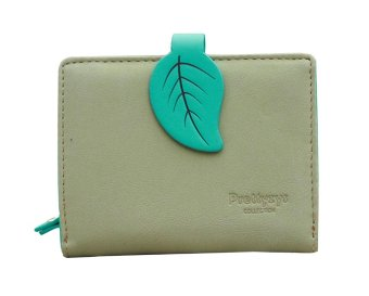 niceEshop Women PU Leather Contrast Color Retro Leaf Purses