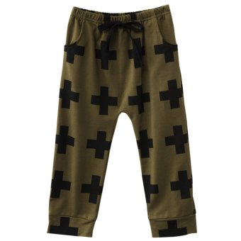 Chic Cross Print Cotton Elastic Waist Boys Harem Pants - intl