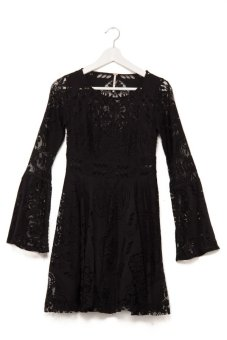 Free People Lovers Folk So Dress (Black)