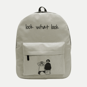 Women Canvas Letter Printing Backpack Gray - intl