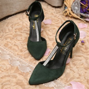 Sexy Pointed Toe Thin High Heel Shoes Suede Rhinestone Wedding Shoes(Green) - intl