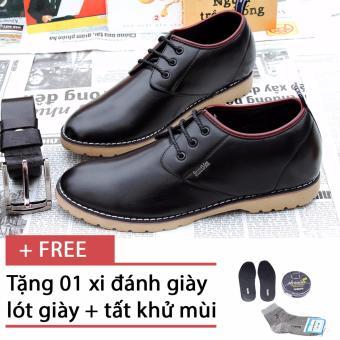 Giày da thật tăng chiều cao SMARTMEN GD2-05 (Đen), tặng kèm 1 hộp xi cao cấp, 1 đôi tất, 1 đôi lót khử mùi cao cấp