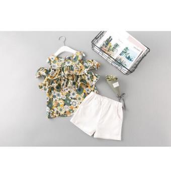 Set bộ áo hoa quần trắng