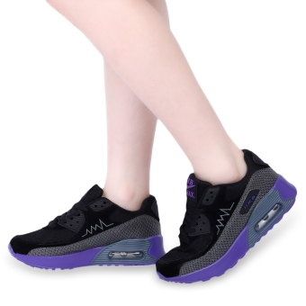 Casual Color Block Patchwork Design Sports Shoes(Black and Purple) - intl
