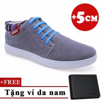 Giày Tăng Chiều Cao Nam 5cm +Tặng 1 ví da 2201XM