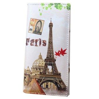 Fashion Women Long Wallet PU leather Paris Flags Eiffel Tower Style Wallet