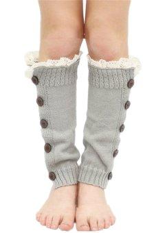 Lalang Kneepad Legs Stockings Light Grey - intl