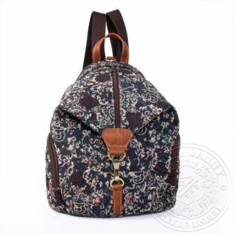 Balo nữ kiểu dáng hoa văn có túi kéo móc phía trước dav danny màu xanh đậm - DD152F915
