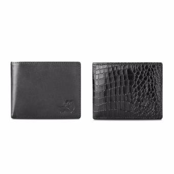 Bộ 2 ví da thật LAKA ( đen trơn, đen cá sấu) V0103