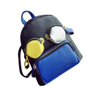 Funny Cute Personalized Women Bag School Cartoon Backpack Mini Patchwork Bags BU - intl