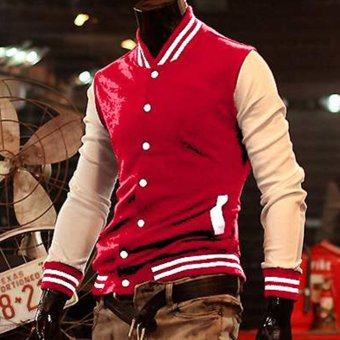 Cyber Mens Fashion Designed Casual College Baseball Varsity Bomber Jacket Coat Outwear Tops Red - Intl