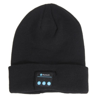 Soft Warm Bluetooth Smart Cap Headphone (Black) - intl