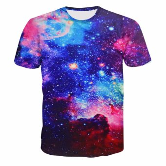 Fancyqube Fashionable Designer Casual Galaxy Mustache Space Graphic Print Loose T shirts Light Blue - intl