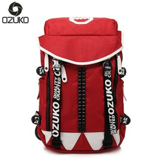 OZUKO 2017 Creative School Bags for Teenagers Girl Boy Student Bags Fashion Waterproof Backpack (Red) - intl