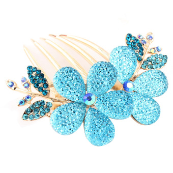 The New Hair All Over The Sky Star Rhinestone Headdress Flower Blue - Intl - Intl