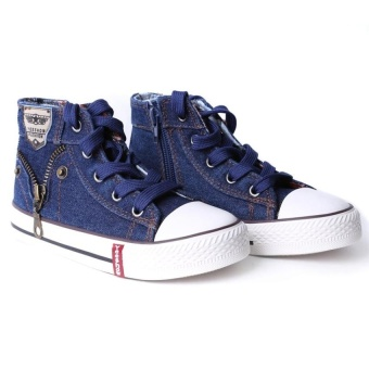 Baby Boys Canvas High-Top Strap Causal Flat Shoes Darkblue - intl