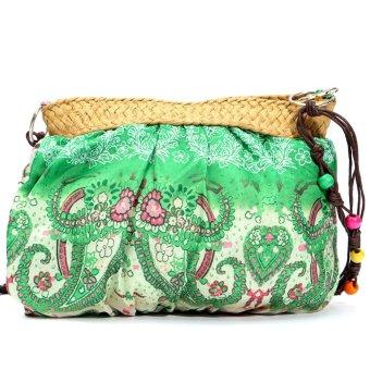 Womens Small Handmade Bohemian Straw Beach Purse Shoulder Bag Green - Intl