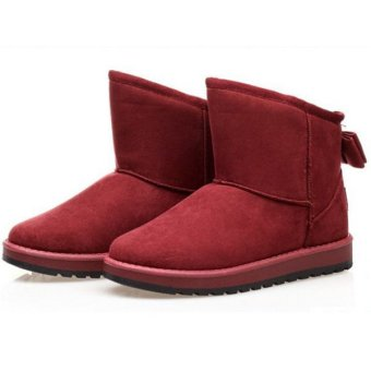 Women Winter Warm Fur Lined Cute Bowknot Ankle Mid Calf Snow Boots Shoes Red - intl