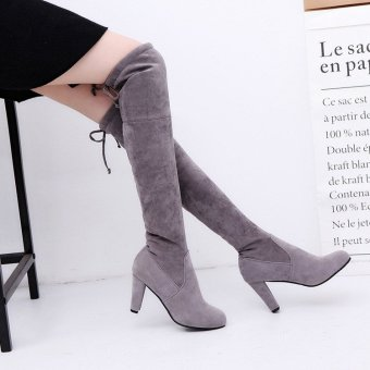 Winter Womens Suede Sexy Over The Knee Thigh High Long Boots Heels Party Shoes Gray - intl