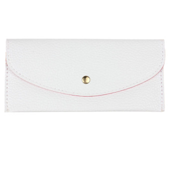 Candy Colors Envelope Slim Design Leather Wallet White