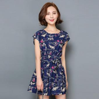 Đầm nữ ngắn xòe nhún eo cột eo cổ tròn không tay họa tiết Urban Horizon FM0095 (Xanh navy)