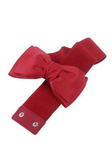 HKS Elegant Chiffon Elastic Stretch Bow Girdle Waist Belt (Red) - intl