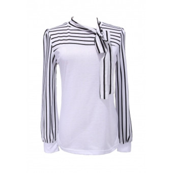 Women Stripe Polo Neck Puff Long Sleeve Shirts (Intl)