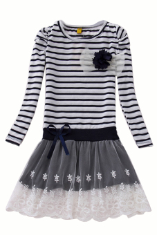 Girls Bowknot Striped Tutu Dress Princess Party Wedding Long Sleeve Skirts Dark Blue - Intl