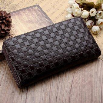 PU Leather Men Bifold Long Card Money Case Holder Wallet Purse Plaid Pattern Brown - intl