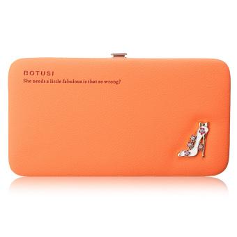 Women Girl Leather Clutch Bag Wallet Long Card Holder Purse Phone Handbag Luxury Orange - Intl