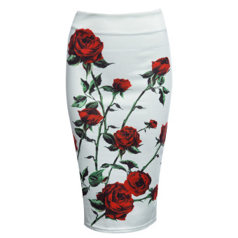 Vintage Bodycon Midi Skirt High Waist Floral Zippered Women (Red with White) - intl