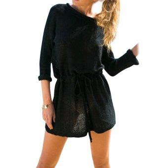 Women Casual Sweater Long sleeve Drawstring Waisted Slim Dress Balck XL - intl