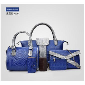 Bộ set 6 túi xách ví cầm tay Cao Cấp Da Cá Sấu Korean Style (Diamond Blue)