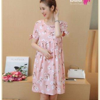Đầm bầu thô cut vai (hồng)