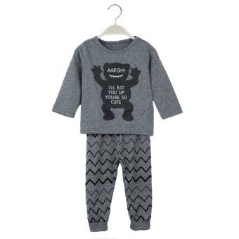 Two-Piece Set Long Sleeve T-Shirt Elastic Waist Casual Trousers Girl Boy Suit Grey - intl
