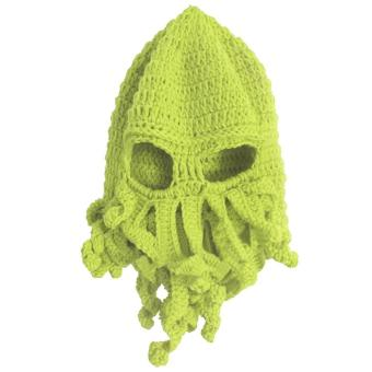 Unisex Kids Child Octopus Style Acrylic Fibers Winter Warm Knitting Face Mask Knitted Beard Squid Hat Cap for 3-8 Years Old Kids Green - intl
