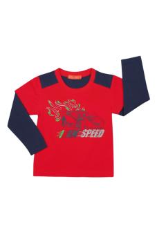 Áo thun bé trai tay dài V.T.A.Kids BT41113C-DX (Màu Đỏ Phối Xanh Đen)