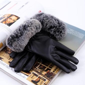 Găng tay nữ da tổng hợp cao cấp DaH2 GT0003 màu đen