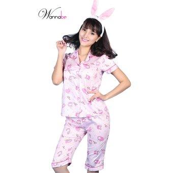 Đồ bộ mặc nhà lửng áo tay ngắn thỏ hồng Wannabe BL19T ()